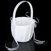 Wedding Basket Ring Pillow Flower Storage Girl with Heart Buckle Satin Ribbons Hanging for