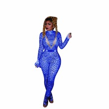 6522b3c9e9 women paisley vintage 3d printed long sleeve bodycon high waist skinny long  jumpsuits club party rompers