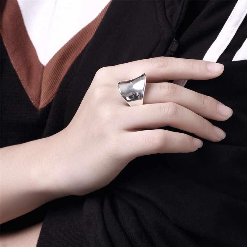 2019 ใหม่มาถึง 100% 925 thumb Glossy แหวน big Faced กว้างแหวนสำหรับเครื่องประดับ Unisex mama ผู้ชาย