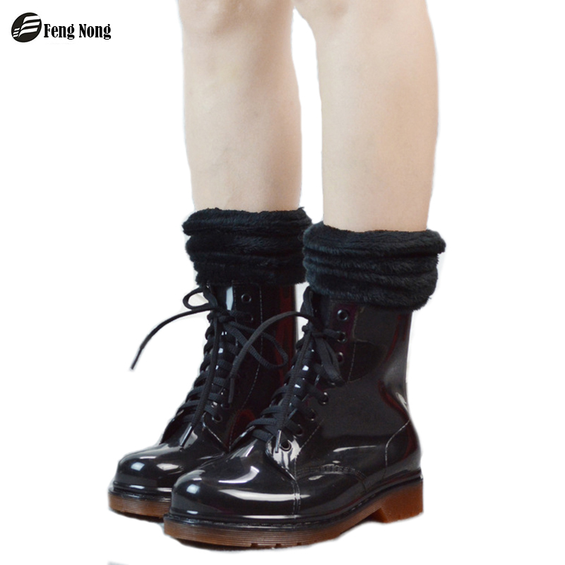 Feng nong 2017 martin lace up high rain boots waterproof flat shoes woman rain woman water rubber boots colorful botas w110-1