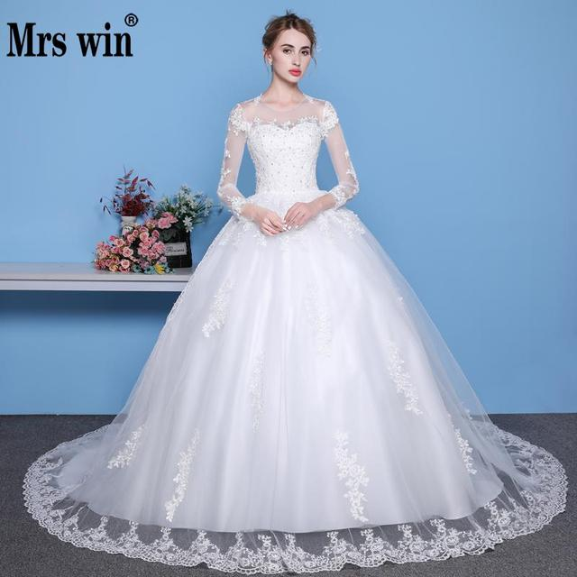 Mrs Win Sexy See Through Wedding Dress Luxury Long Sleeve Wedding Gown 2018  Lace Beaded Mariage Bridal Gowns Vestido De Noiva a400d50305d7