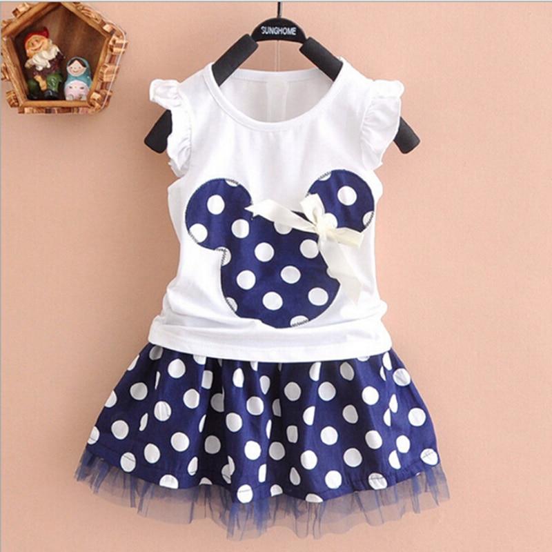 Conjunto de ropa informal Camisetas de 2 piezas + Conjunto de faldas cortas Ropa de abrigo Minnie y exterior para niñas 2016 primavera verano