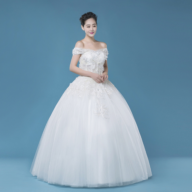 beautiful tulle off shoulder A line floor length white lace up back ...