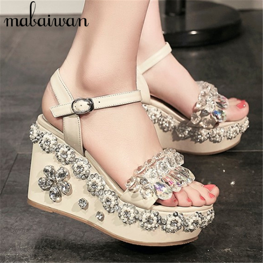 Summer Crystal Embellished Sandals Women Platform Pumps Gladiator Wedge Shoes Woman High Heels Ladies Stiletto Wedges Rhinestone phyanic 2017 gladiator sandals gold silver shoes woman summer platform wedges glitters creepers casual women shoes phy3323