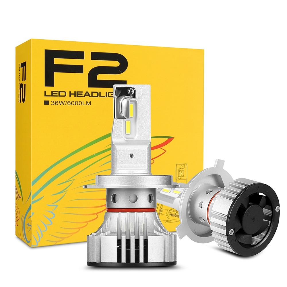 F2 H4 Voiture Phare H7 H4 LED H8/H11 HB3/9005 HB4/9006 H1 H3 9012 H13 9004 9007 72W 12000lm Auto Ampoule Phare 6000K Lumière De travail
