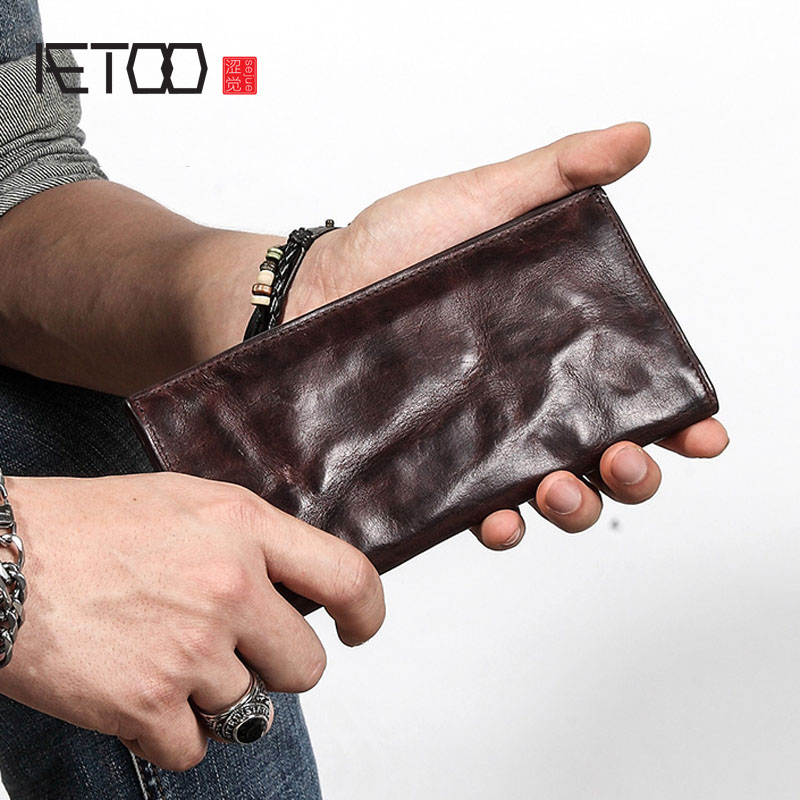 AETOO Ultra-thin Men's Long Wallet Leather Original Retro Wallet Personality Vintage Head Layer Leather Simple Young Men's Walle