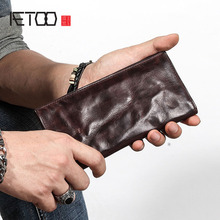 AETOO Ultra thin mens long wallet leather original retro wallet personality vintage head layer leather simple young mens walle