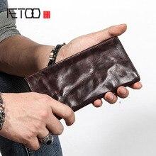 AETOO 초박형 남성용 긴 지갑 가죽 원래 복고풍 지갑 성격 빈티지 머리 레이어 가죽 간단한 젊은 남성 walle