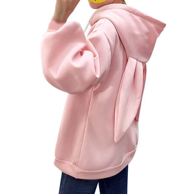 eedab552f8d49f Kawaii słodkie uszy królika z kapturem bluza kobiety haft  różowy bluzy luźna