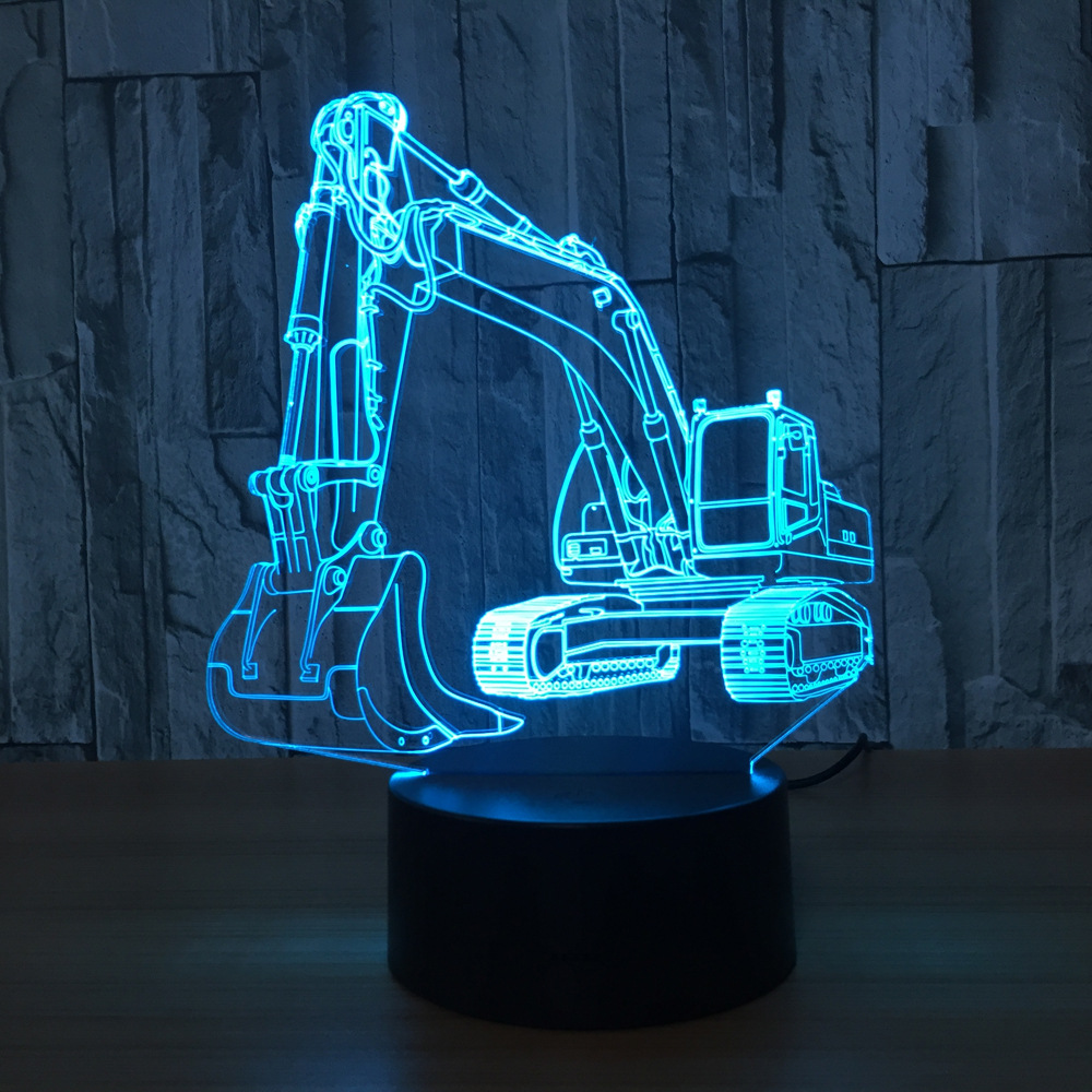 3D Excavator Night Light Illusion LED Table LamP 7 Colors USB Novelty Luces Car Shape Desk Bedside Nightlight Lamps