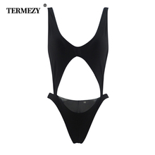 Swimwear Women 2019 New One Piece Solid Swimsuit Black Sheer Side Hollow Out Breathable Sexy bandage one-piece bikini
