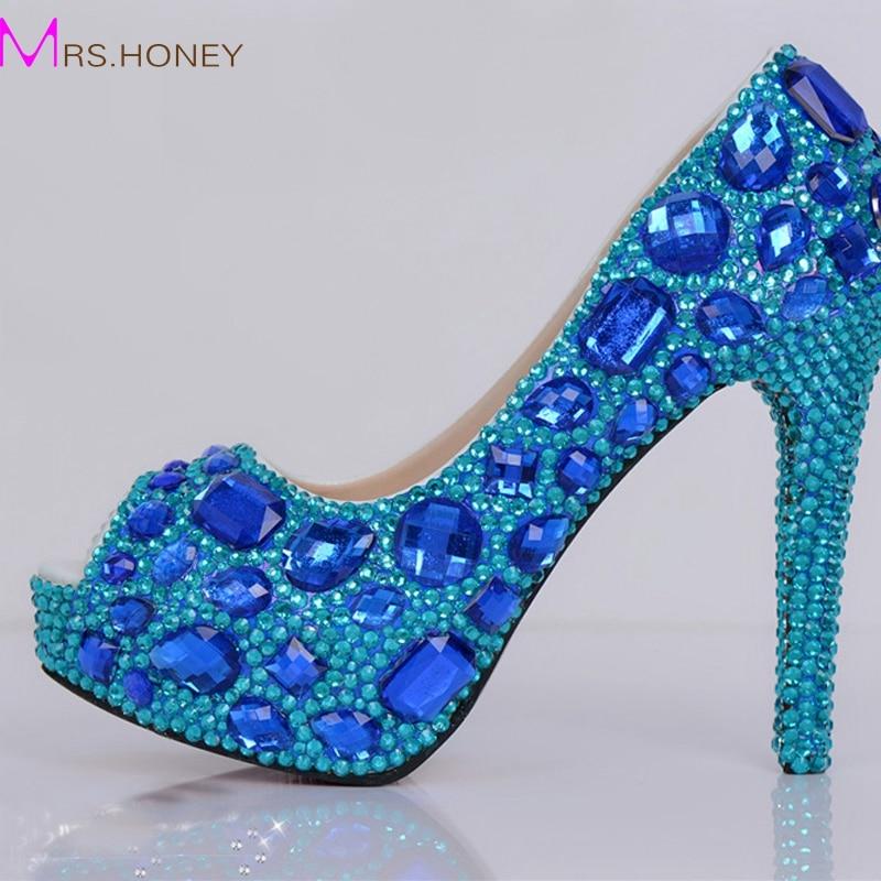 peep toe blue rhinestone wedding shoes platform