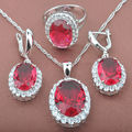 Classic Design Red Cubic Zirconia Women's Silver Jewelry Sets Necklace Pendant Drop Earrings Rings Free Shipping TZ011