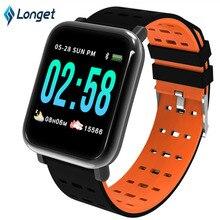 Купить с кэшбэком Longet A6 Smart Bracelet Blood Pressure Fitness Tracker Watch Waterproof Heart Rate Monitor Smart Band New Smart Watch for Sport