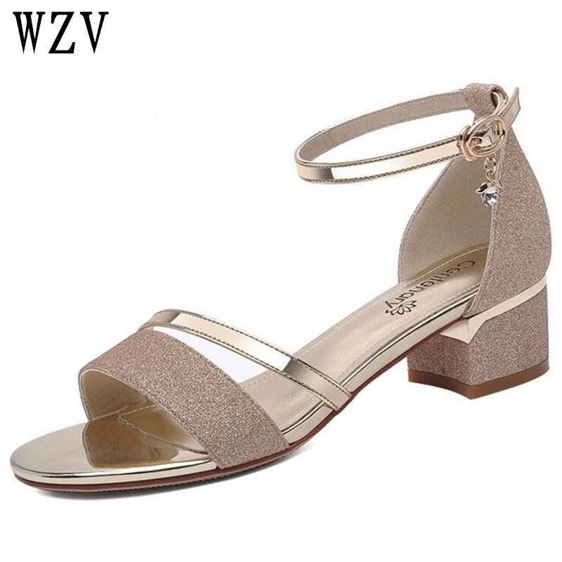 Women Sandals Summer Open Toe shiny Women's Sandals Low Block Heel 5CM Ankle Strappy Women Shoes Gold silver E007