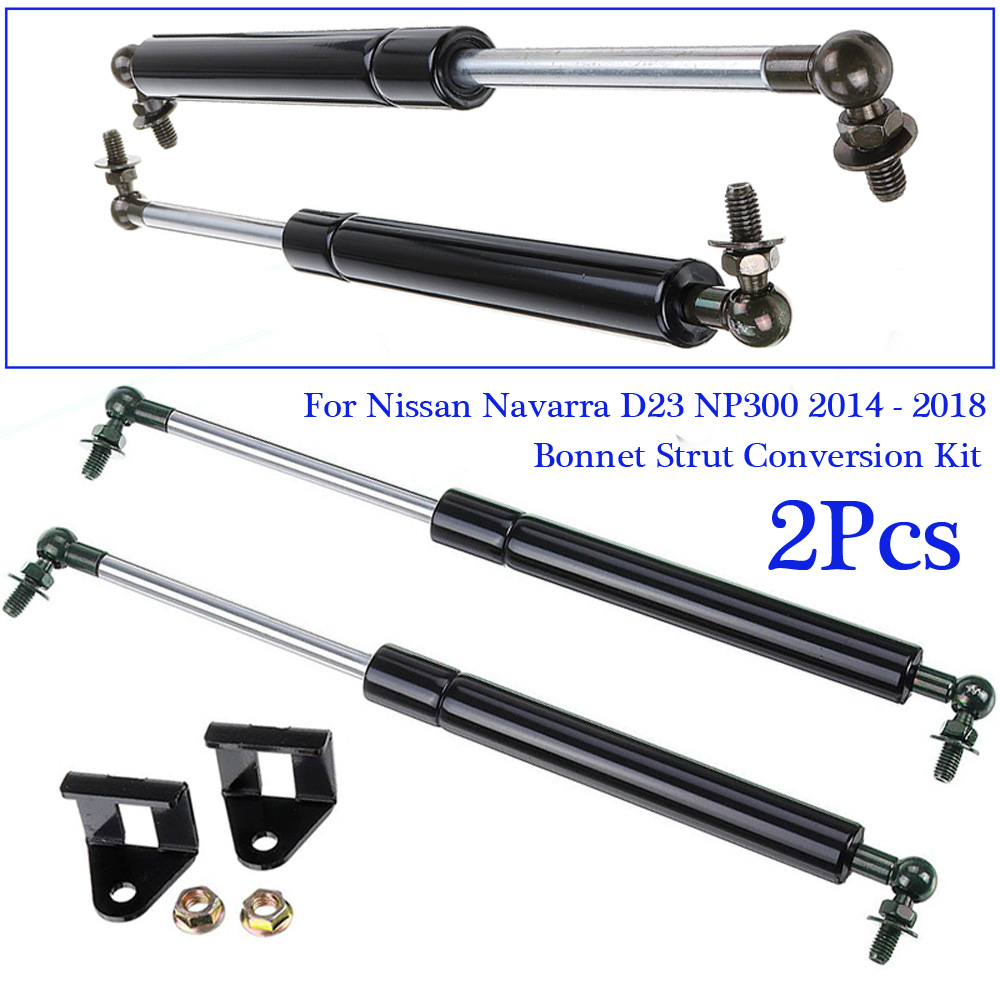 Mounting Metal Black Set Kit Accessories Hood Tailgate Gas Struts Shock Front For Nissan Navarra D23 NP300 14-18