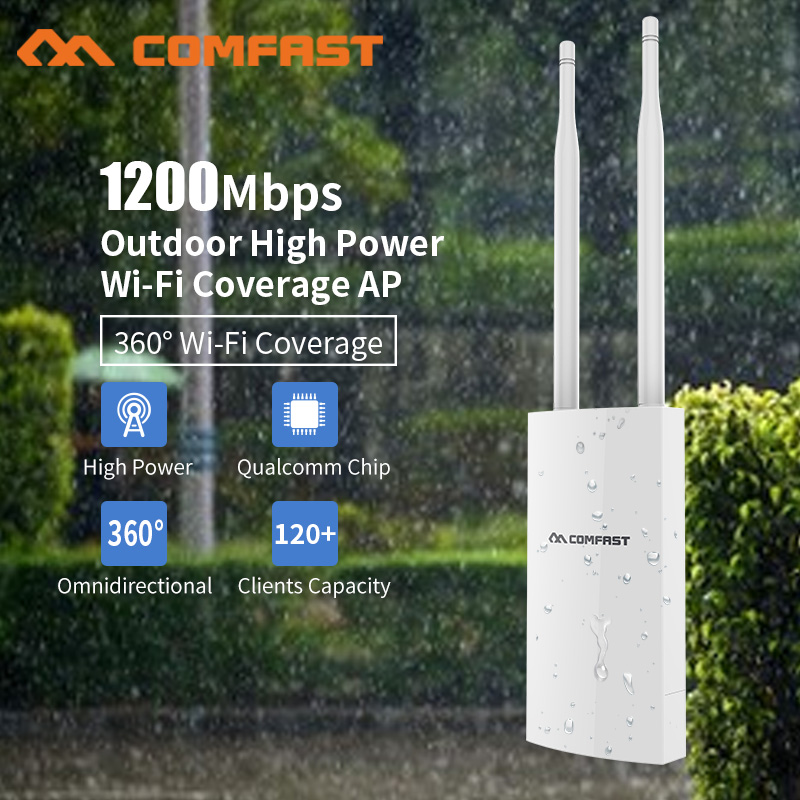 1200 Mbps Gigabit Poe Wireless Outdoor AP Router 802.11AC Dual Band Wifi Access Point AP 2 * 5dBi Antenna WiFi copertura della Stazione Base