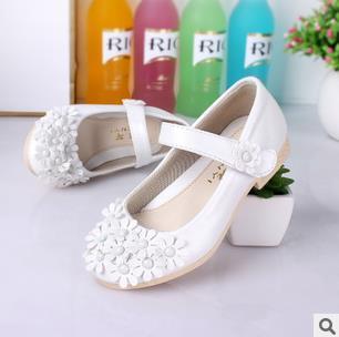 Sapatos de couro da marca de moda das crianças flor princesa sapatos único meninas estudantes de casamento branco infantis nina 257