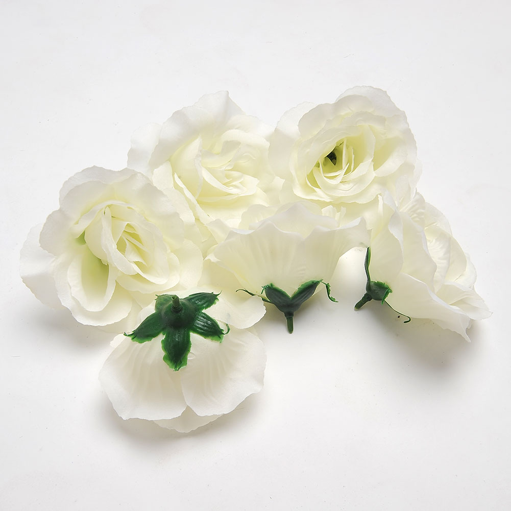 6PCS/LOT Pretty Artificial Flower <font><b>Elegant</b></font> 6pcs Fake White Rose Heads <font><b>Home</b></font> Garden Bridal Hair <font><b>Decor</b></font> 4