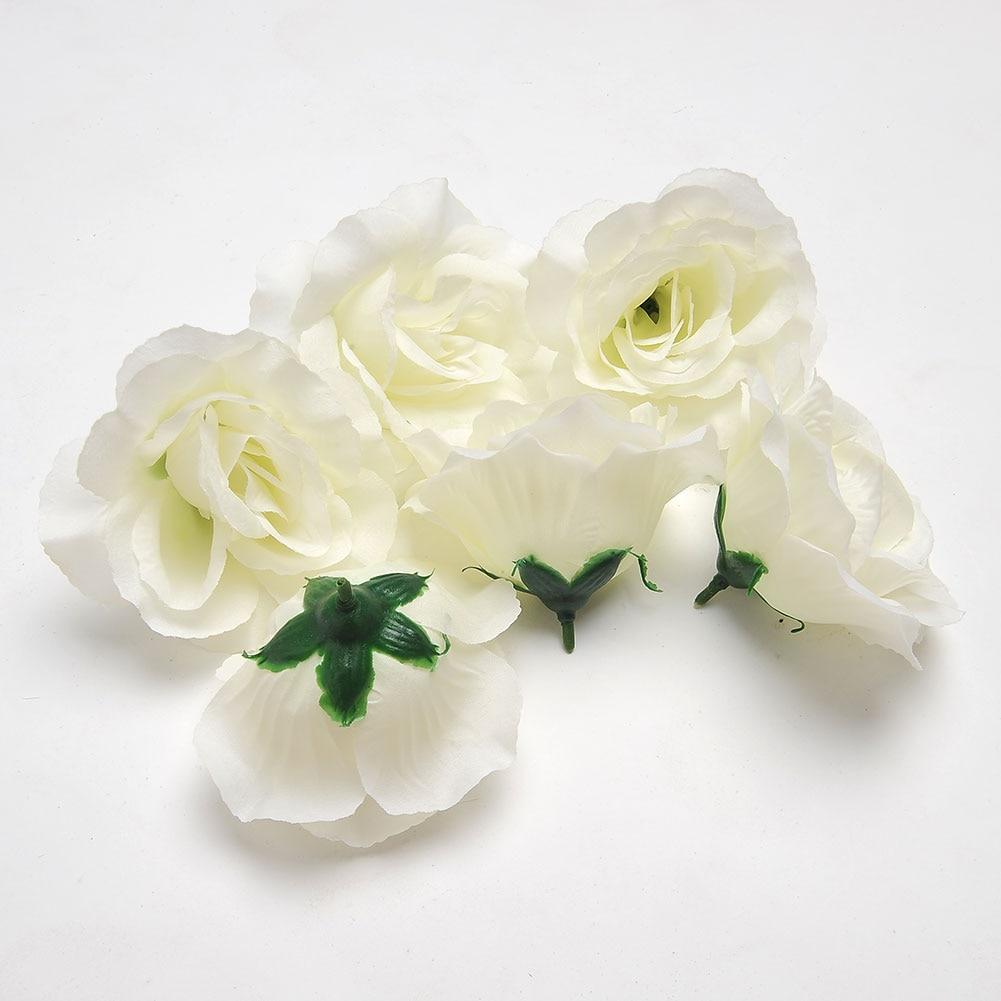 6PCS/LOT Pretty Artificial Flower <font><b>Elegant</b></font> 6pcs Fake White Rose Heads <font><b>Home</b></font> Garden Bridal Hair <font><b>Decor</b></font> 4