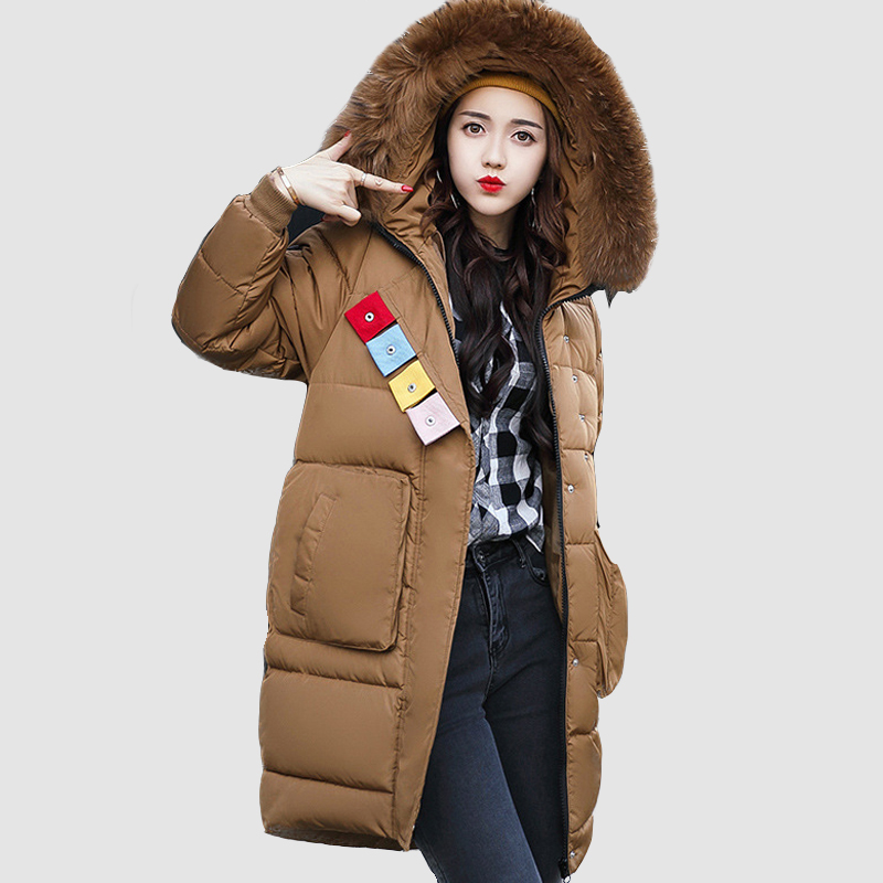 Black Winter Jacket Women Coat Long Parkas Female Warm Overcoat Big Fur Collar High Quality Thicken jacket New Arrival 2017 women winter coat leisure big yards hooded fur collar jacket thick warm cotton parkas new style female students overcoat ok238
