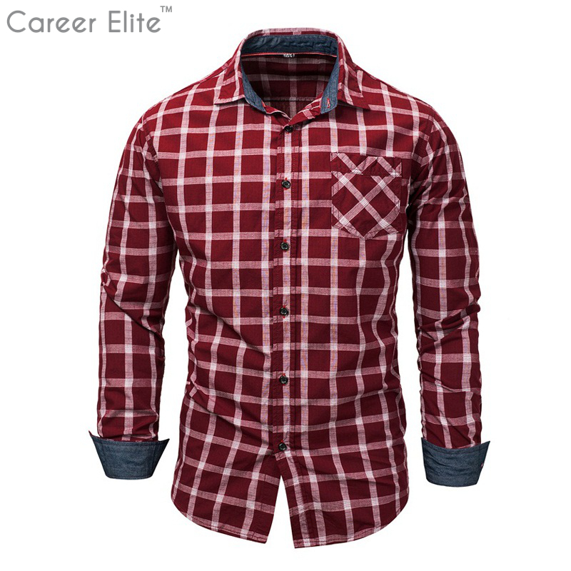 Mens Shirt Brand Male Long Sleeve Red Plais Cotton Shirt Casual Red Black Plaid Slim Git Black Dress Shirts Camisa Masculina