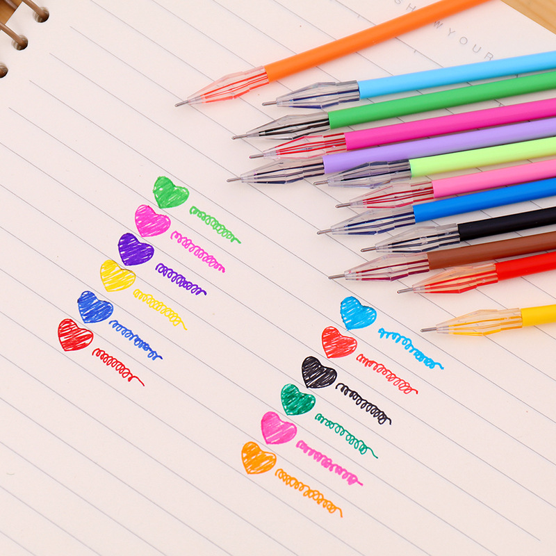 1 PCS Diamond Head Refill Candy Roller Ball Gel Pen Refill  0.38mm Refills Writing Stationery Office School Supplies 12 Color