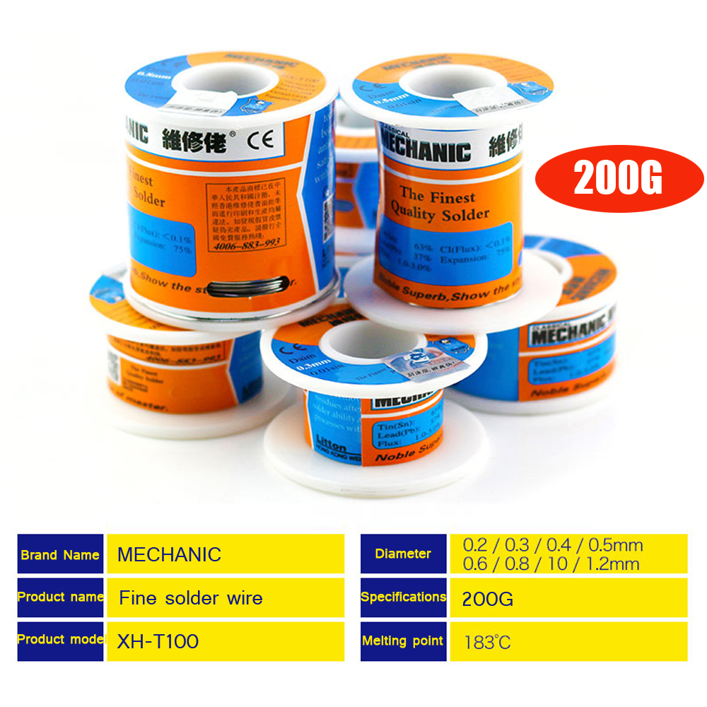 1pcs Mechanic 200g Solder Wire Reel Rosin Core 0.3/0.4/0.5/0.6/0.8/1/1.2mm Low Melting Point Soldering Tin BGA Welding Tools