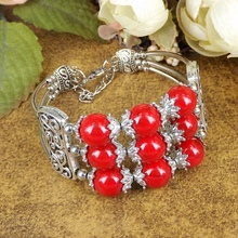 New Tibetan Silver Plated Bohemia Ethnic Fusion Bracelet Red /Blue Turquoise Stone Round Glass Beads Bangle Bracelet A204G moov now fusion red
