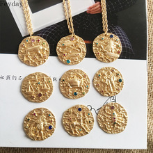 2019 Baroque Twelve Constellations Women Necklace Gold Coin Pendant Chain Neck Decor Fashion Necklaces for Gift