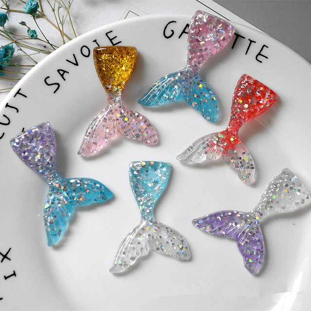 5Pcs Slime Charm Mermaid Tail For DIY Cake Phone Decoration Sprinkles Toys Mud Polymer Clay Slime Filling Supply
