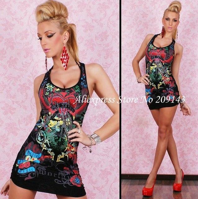 Free Shipping,Women Dress,BLACK Gothic Punk Tatto Floral Clubwear ...