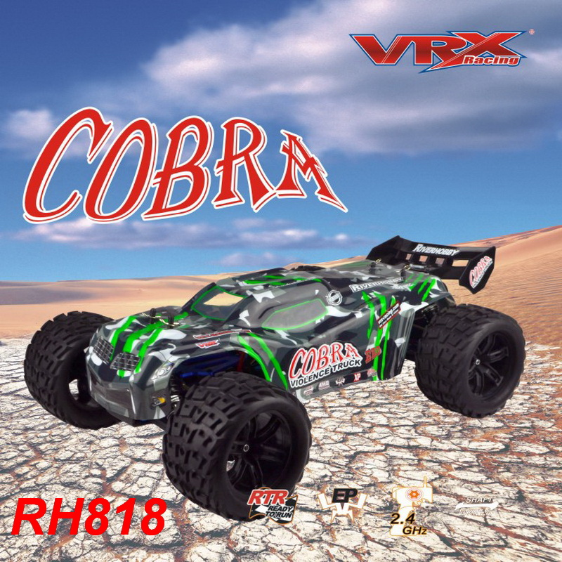 Vrx Racing Rh818 Cobra 1 8 Scale 4wd Electric Brushless Rc Truck Rtr W 60a Esc 3650 Motor Not Included Battery Charger