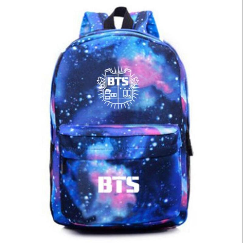 Kpop BTS Backpack Galaxy Stars Printing Canvas Bag Rucksack For Young Teenage Girls School Bag Travel Bags Korean Mochila 2 2018 new korean kpop women pu backpack teenage girls fashion exo bags casual travel student bags mochila