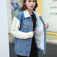 2017 Autumn Winter Vintage Denim Jacket Women Cashmere Thickened Korean Lamb Patchwork Knitted Sleeves Lady Jacket