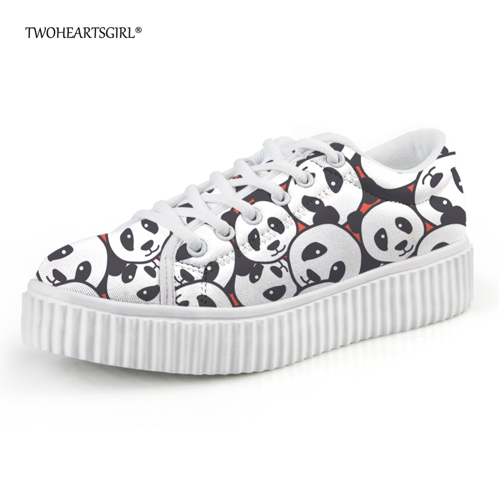 Women's Flats Twoheartsgirl Cute Printing Animal Cat Creepers Shoes Plus Women Casual Shoes Novelty 3d Female Ladies Flat Platform Shoes