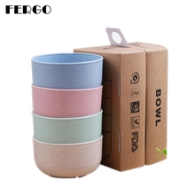 FEIGO 4Pcs/Set Environmentally Friendly Wheat Straw Bowls Instant Noodles Rice Bowl Fiber Tableware Family Sets F843