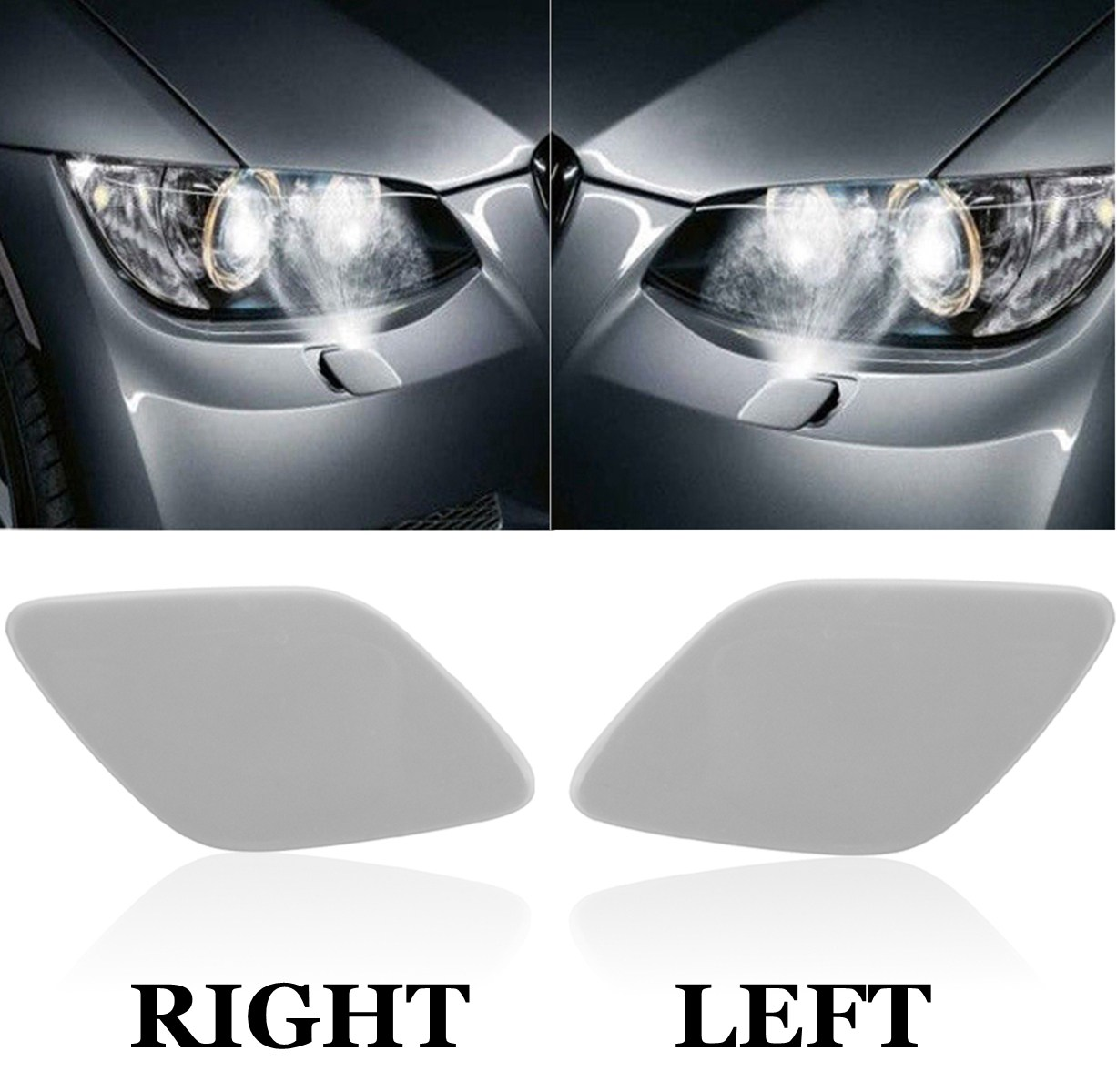 цены Left and Right For BMW E92 E93 3 Series Passenger Side Headlight Washer Primed Cover