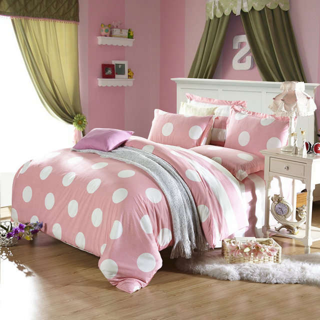 Polka Dot rosa Pastel de lino funda nórdica doble moda
