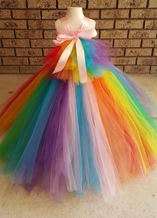Rainbow Tutu Inspired Pony costume - Rainbow Birthday party, Tea party, size 41