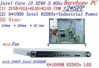 Intel 1U сети сервера OEM аппаратного устройства 6Nic 1000 м 2 * SFP Network Server applaince i3 3240 с 1U стойку шасси