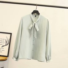 Plus size BOW collar Chiffon women blouse 2019 spring NEW casual office ladies