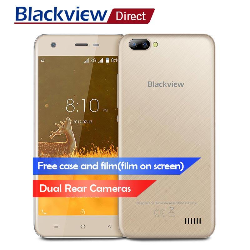 Blackview A7 смартфон 5,0 дюйма двойной камеры заднего 1 ГБ + 8 ГБ mt6580a четыре ядра 2800 мАч 5MP + 0.3MP 3G WCDMA Мобильный телефон Android 7,0