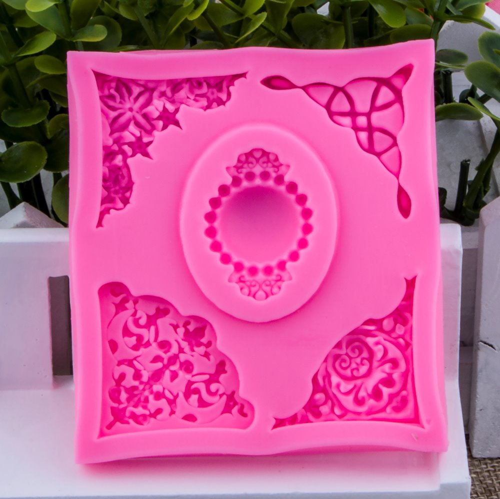 Photo frame gem shape Fondant cake silicone mould Kitchen for pastry candy Gum paste Chocolate Trim molding removal tool FT-0924