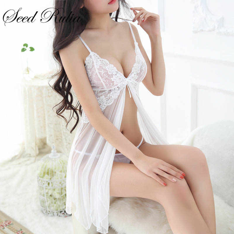 SEEDRULIA Sexy Nightgowns Sleepshirts Sleepwear Women Night Dress Lace Embroidery Sexy Lingerie Babydoll Women  Nightwear