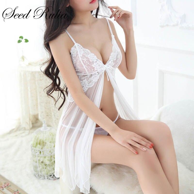 SEEDRULIA Sexy Nightgowns Sleepshirts Sleepwear Mulheres Noite Vestido de Renda Bordado Sexy Babydoll Lingerie Mulheres Nightwear