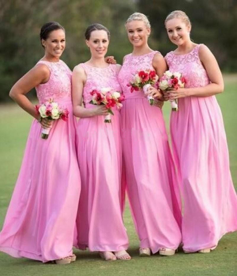 One Shoulder Long Bridesmaid Dresses Hot Pink Wedding Party Dress