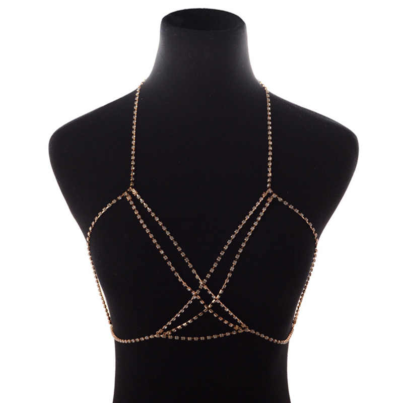 Multi layer Rhinestone Bra Chains Necklace Sexy Beach Bikini Harness Belly Jewelry Gold Silver Color Cross Crystal Body Chain