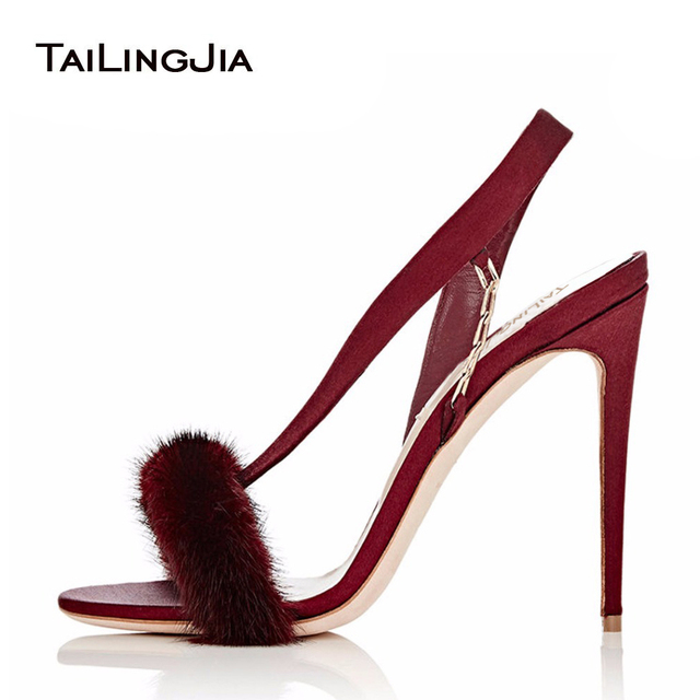 d96414b28ace 2018 Sexy Wine High Heel Sandals Women Fur Sandals Gray Evening Heels Shoes  Furry Luxurious Stilettos With Chain Black Fur Heels