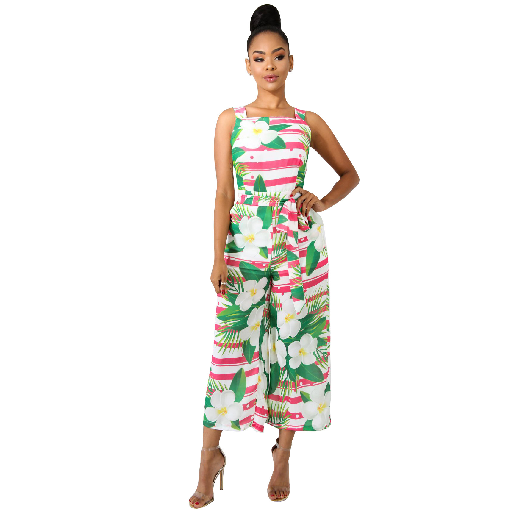 Women Sleeveless Floral Print Jumpsuit Summer Beach Playsuits Boho Wide Leg Jumpsuit Backless Sexy Long Rompers